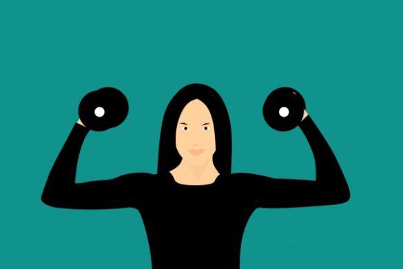 Dieta vertical: Ilustração de uma mulher segurando dois alteres
